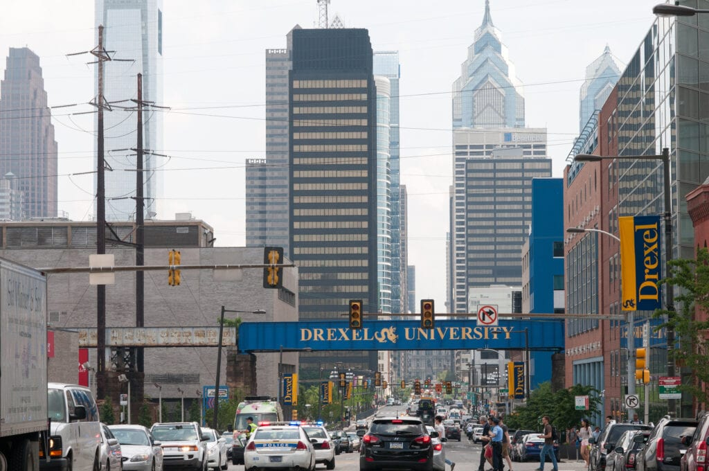 Tall buildings in Philadelphia with Drexel University sign