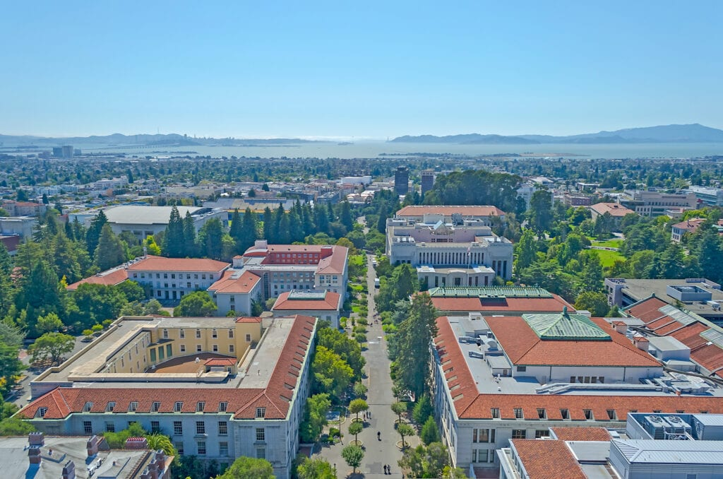 Aerial View of Berkeley University Campus and San Francisco Bay California USA
