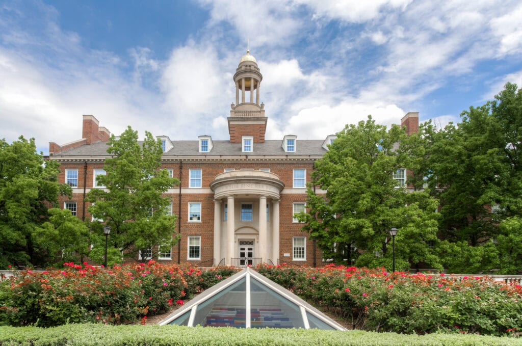 ALLAS TX/USA - MAY 21 2016: Joseph Wylie Fincher Building at Southern Methodist University. SMU is a private research university in Dallas University Park and Highland Park Texas.