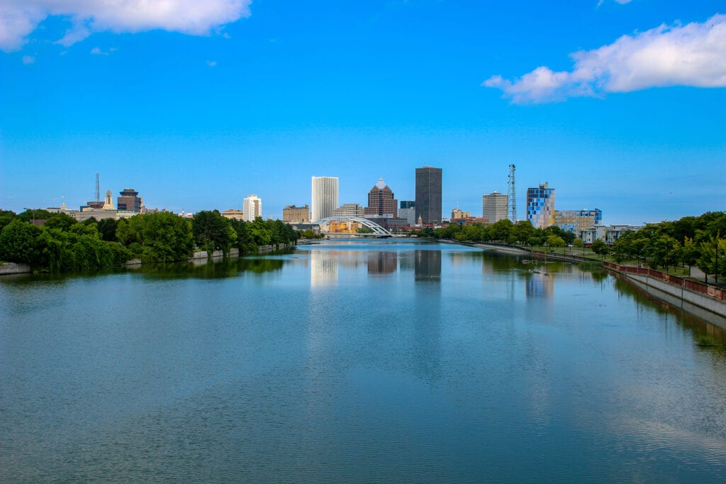 Skyline of Rochester New York, a city that is in Western NY