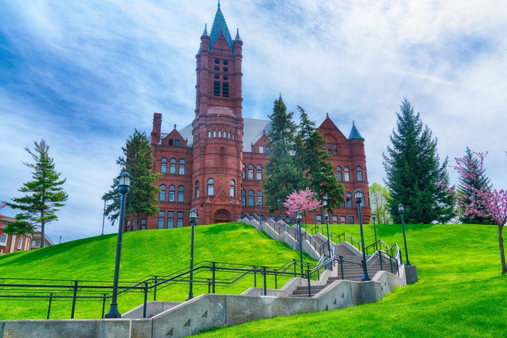 SYRACUSE, NY - MAY 14, 2018: Historic College of Visual and Performing Arts Building at Syracuse University, New York