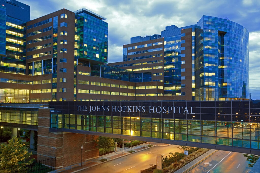 Night view of Johns Hopkins Hospital