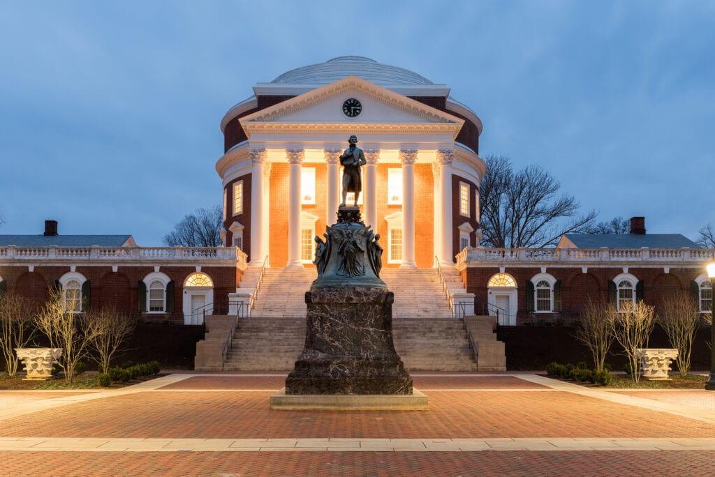 Charlottesville, Virginia - February 18, 2017: The University of Virginia in Charlottesville Virginia at night. Thomas Jefferson founded the University of Virginia in 1819.